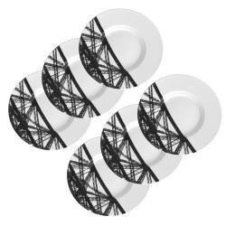 6x Paris Plates Black &...